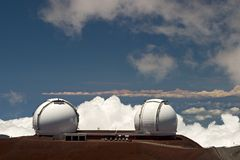 Keck Telescope. S on the summit of Mauna Kea, Hawaii Stock Photos