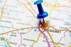Kecskemét on map. With push pin stock images