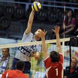 Kecskemet - Kaposvar volleyballspel stock foto's