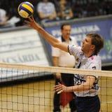 Kecskemet - Kaposvar volleyballspel stock afbeelding