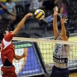 Kecskemet - Kaposvar volleyballspel royalty-vrije stock fotografie