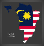 Kedah Malaysia map with Malaysian national flag illustration Royalty Free Stock Photos