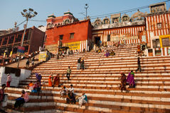Kedar Ghat in Varanasi. Pilgrims are waiting on the staircases of Keder Ghat at Varansi for their turn to bath followed by worship. Keder Ghat is very famous Stock Photography