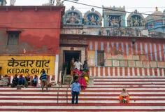 Kedareshwar temple on Kedar Ghat in Varanasi royalty free stock photography