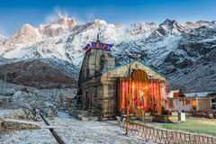 Kedarnath in India. Kedarnath Temple before sunrise, it is a Hindu temple dedicated to Shiva, India Stock Photography