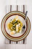 Kedgeree una comida escocesa con los abadejos, el arroz, el cardamomo, el huevo y l Imagen de archivo