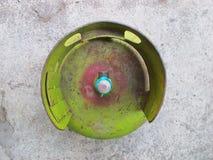 Kediri, Indonesien - 1. Dezember 2018: Pertamina-Flüssiggas-Behälter, Draufsicht lizenzfreies stockfoto