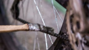 Kedja för cyklistlokalvårdcykel med borsten lager videofilmer