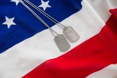 Kedja för hundetikett på en amerikanska flaggan Arkivbilder