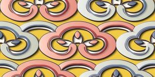 Kedja för ram för geometri för kors för spiral för kurva för modell för sömlös lättnadsskulpturgarnering retro stock illustrationer