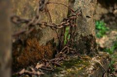 Kedja på foten av stenen Arkivbild