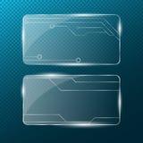 kedja Rektangulärt genomskinligt exponeringsglas på en genomskinlig blå bakgrund ny teknik Cyber-textur Modell på exponeringsglas Arkivfoto