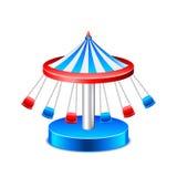 Kedjad fast karusell som isoleras på den vita vektorn Royaltyfria Foton