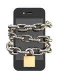 Kedjade fast och Padlocked Smartphone Fotografering för Bildbyråer