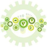 Kedjan av kugghjulhjul fyllde med miljö- symboler för den bio ecoen och Royaltyfri Bild