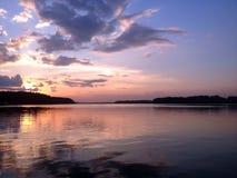 kedjan räknar yttersida USA för solnedgången för skyen för fotografi för horisontalillinois lakelakes ljus o orange royaltyfri fotografi