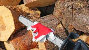 Kedjan såg - skyddande handskar Royaltyfria Foton