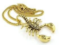 Kedje- och hängeskorpionen - guld- färg för halsband - rostfritt stål Arkivfoto