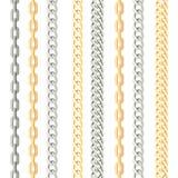 Kedjor belägger med metall den vertikala sömlösa modellen på vit bakgrund royaltyfri illustrationer