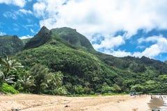 Kee Beach in Kauai, Hawaï Stock Afbeelding
