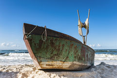 Keel boat on seashore. Baltic sea. Keel boat on seashore. Frog perspective Stock Photos
