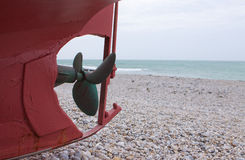 Keel and propeller of boat Royalty Free Stock Images