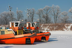 Keelboats on the frozen river Royalty Free Stock Image