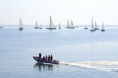 Keelboats race Stock Photos