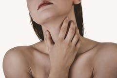 Keelpijn, ziekteprobleem stock afbeelding
