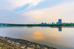 Keelung river with sunset Stock Photography