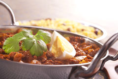 Keema Curry with Egg and Coriander Royalty Free Stock Images