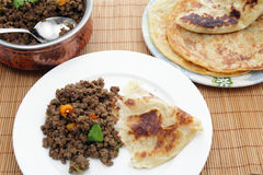 Keema curry with paratha Stock Photography