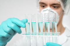 Keen scientist in protective wear performs protein assay Royalty Free Stock Photos