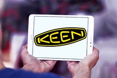Keen shoe company logo. Logo of Keen shoe company on samsung tablet. KEEN is an American footwear and accessories manufacturing company based in Portland, Oregon stock photos