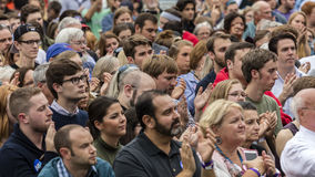 Keene, New Hampshire - OCTOBER 17, 2016: Crowd watches former U.S. President Bill Clinton speaks on behalf of his wife Democratic. Presidential nominee Hillary Stock Photo