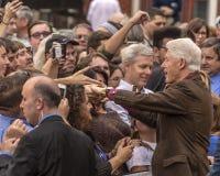 Keene, NH - 17 OKTOBER, 2016: Vroeger U S President Bill Clinton campagnes namens zijn vrouwen Democratische presidentiële benoem Royalty-vrije Stock Foto's