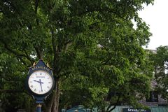 Keeneland Race Track Clock in Kentucky at Summer. The clock outside of the grandstand entrance at Keeneland Race Track in Kentucky stock image