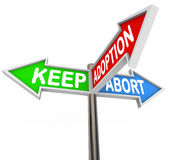 Keep Adoption Abort Three Pregnancy Options Choice Royalty Free Stock Photos