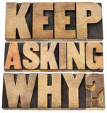 Keep asking why. Motivational advice - a collage of isolated text in letterpress wood type blocks stock image