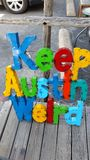 Keep austin weird metal sign Royalty Free Stock Photography