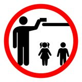 Keep away from children. The sign keep away from children or store in a place inaccessible to children. Vector illustration Stock Image