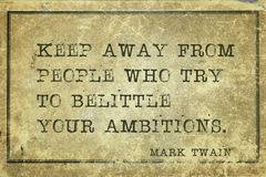 Keep away MTwain. Keep away from people who try -  famous American writer Mark Twain quote printed on grunge vintage cardboard Royalty Free Stock Photo