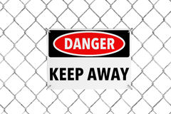 Keep Away Sign with Wired Fence Stock Photos