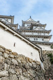 The keep of beautiful white famous world heritage treditional wood castle with old structure at Himaji Royalty Free Stock Images