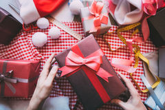 Keep box gifts in hands. Royalty Free Stock Photography