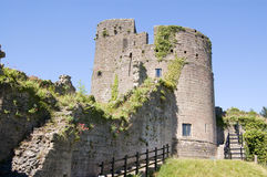 Keep, Caldicot Castle, Wales. View of the inner curtain wall and the Keep at Caldicot Castle in Monmouthshire, Wales.  The medieval castle is mostly ruined Stock Images