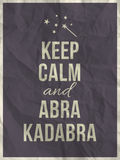 Keep calm abra cadabra quote on crumpled paper texture Stock Photo