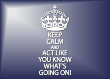 Keep Calm And Act Like You Know What's Going On Stock Images