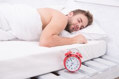 Free Keep Calm And Sleep. Sexy Guy Sleep In Bed. Sleep Time. Nap Time And Napping. Naptime. Early Morning. Late Evening Or Royalty Free Stock Photo - 191166145