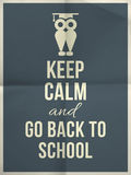 Keep calm and back to school design typographic quote with owl Royalty Free Stock Image